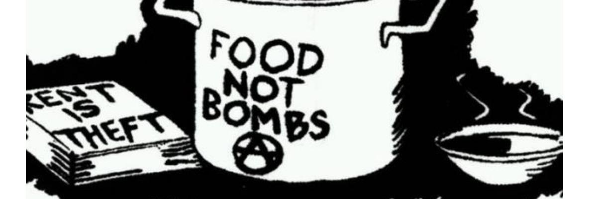 Piirros höyryävästä kattilasta jossa lukee Food not Bombs. Alla teksti: Ruokaa ei aseita Tampereen Hämeenpuistossa 17.10.