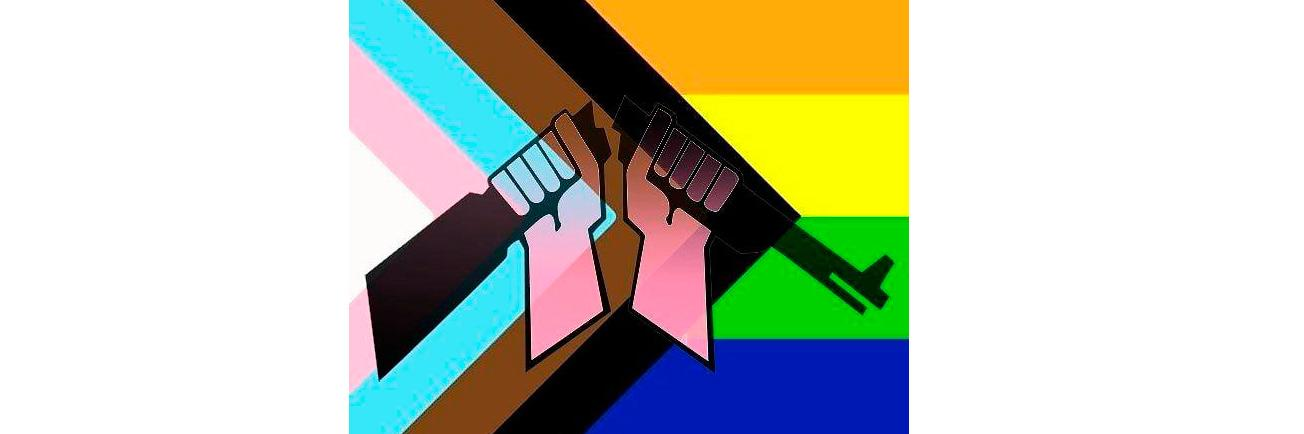 AKL:n katkaistu kivääri -logo sateenkaarilipun väreissä.