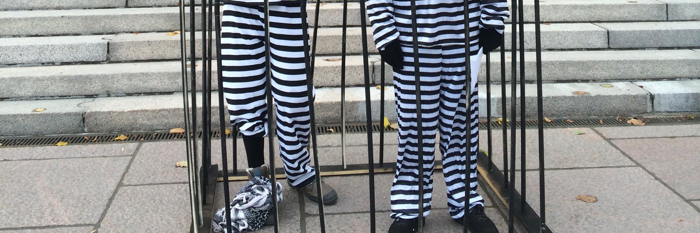 Kaksi valkomustaraidalliseen vanginasuun pukeutunutta mielenosoittajaa seisoo häkissä eduskuntatalon portaiden edessä.