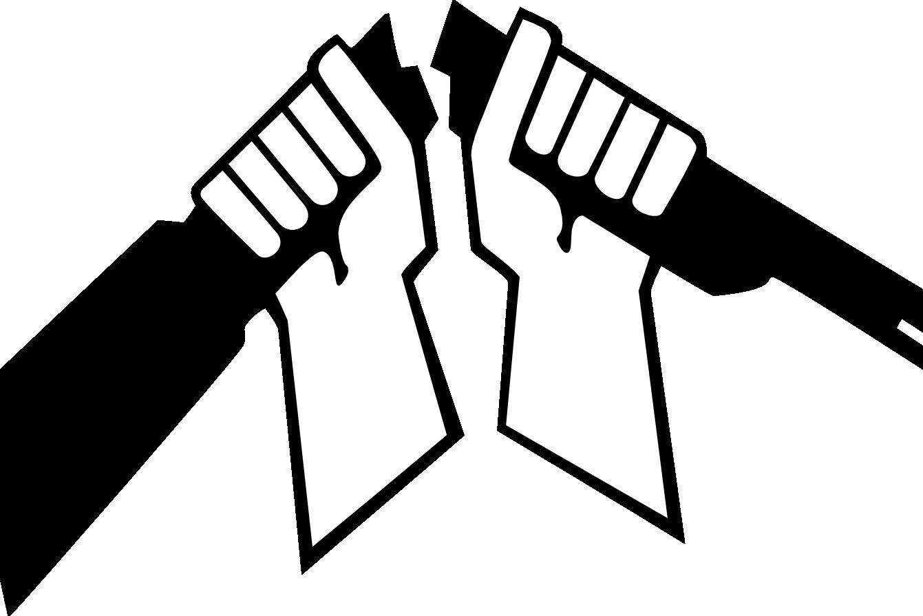 AKL:n logossa kaksi kättä katkaisee kiväärin rikki.