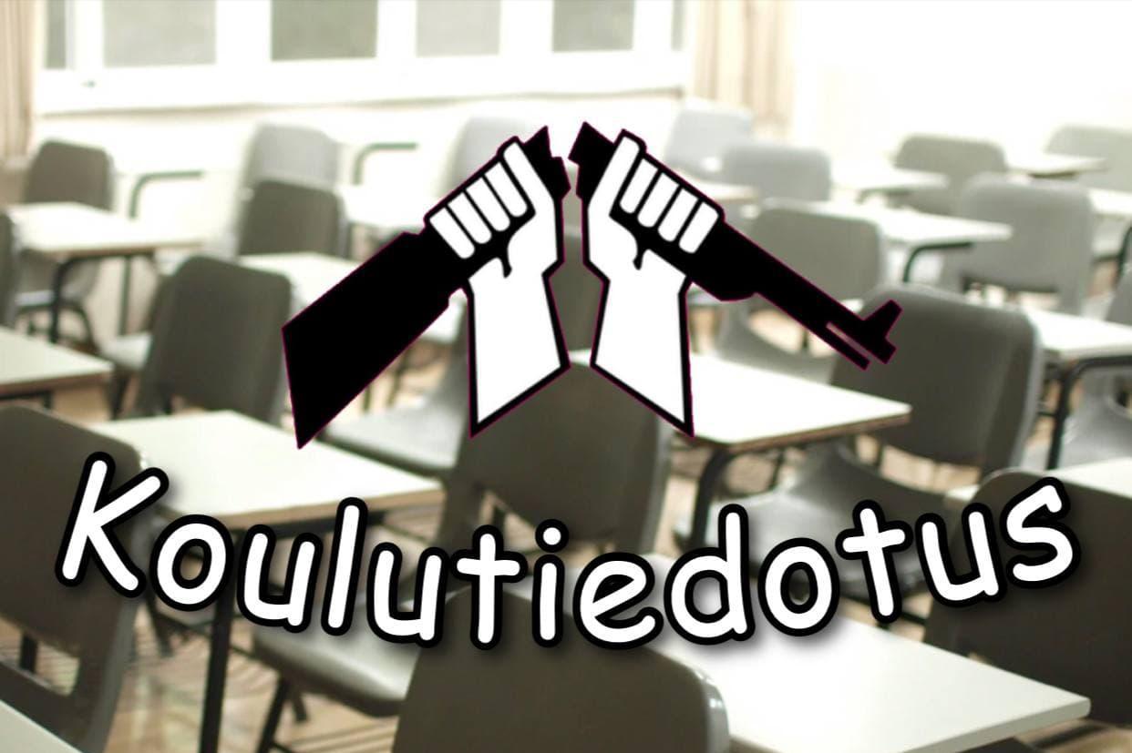 Luokkahuonenäkymän päälle on lisätty kuvanmuokkauksella AKL:n katkaistu kivääri -logo ja teksti Koulutiedotus.