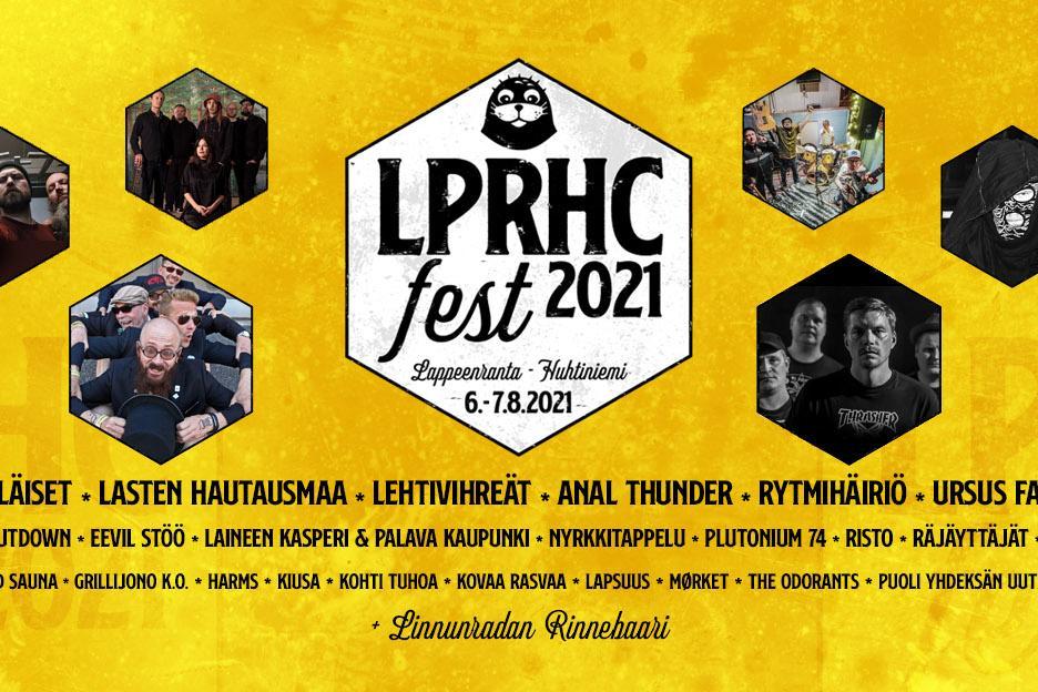 Lappeenranta HC-tapahtuman keltasävyinen mainosjuliste. Keskellä tyylitelty teksti LPRHC- alla esiintyjien nimiä.