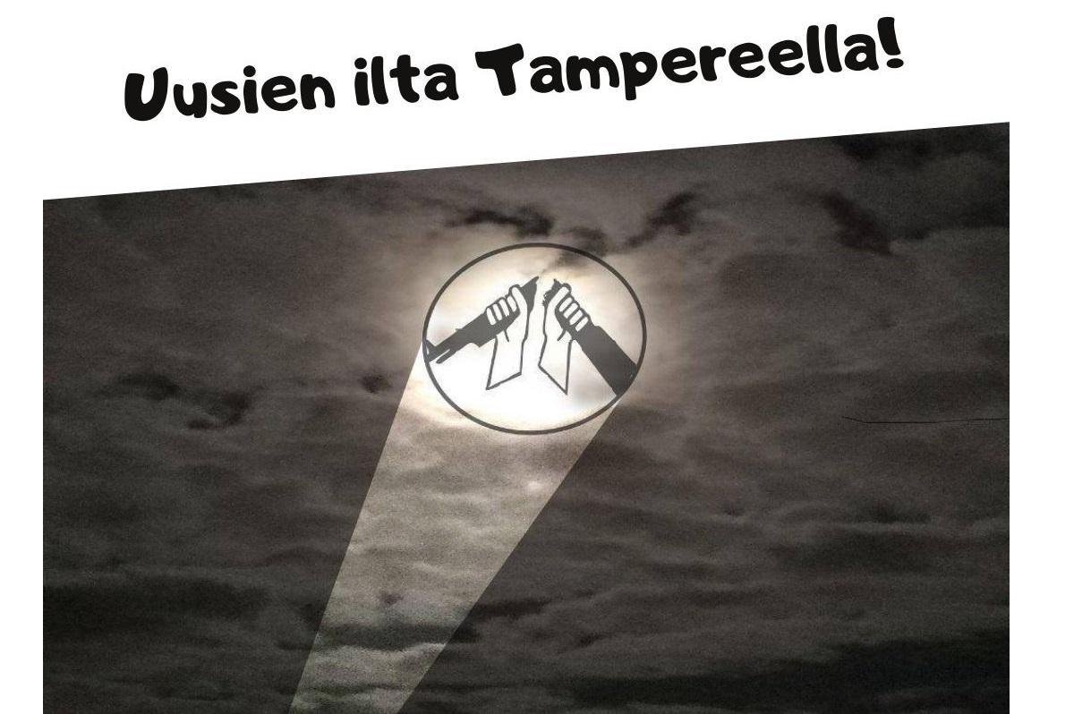 Valokeila heittää taivaalle AKL:n logon. Teksti: Uusien ilta Tampereella. 2.11. klo 18 alkaen.