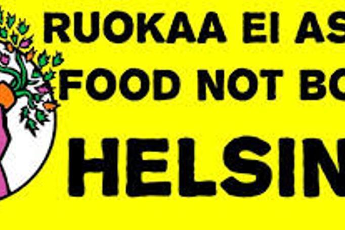 Ruokaa ei aseita banneri