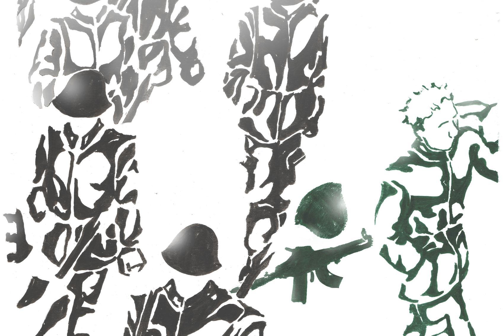 Piirroskuvassa muut sotilaat marssivat rivissä, mutta yksi kulkee eri suuntaan hyläten sotilaan kypärän ja aseen.