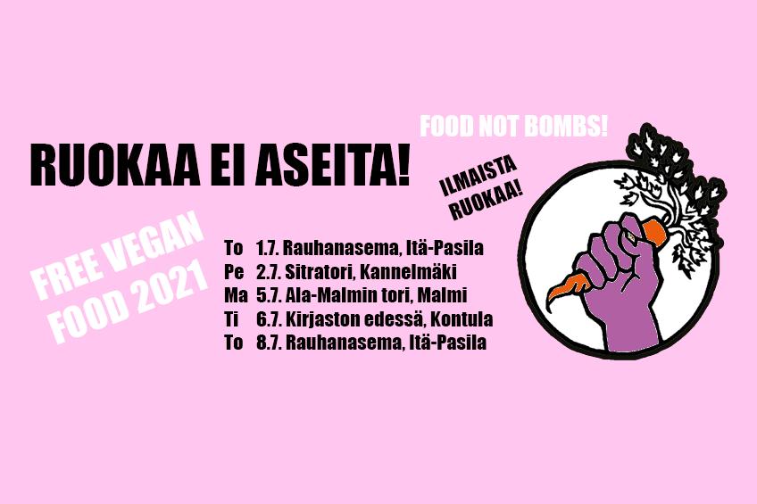 Mainos Ruokaa ei aseita leirin ruoanjaoista, jossa logo sekä ruoanjaot listattuna